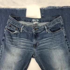 American Eagle Hipster Flare Frayed Bottom Jeans